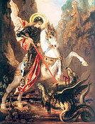 Der heilige Georg besiegt ein Ungeheuer