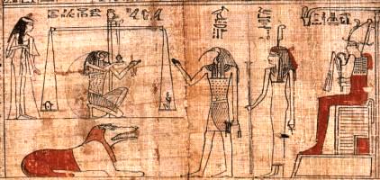 Totengericht mit Osiris auf seinem Thron