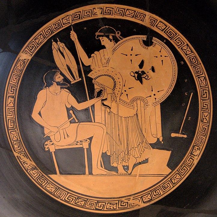 Hephaistos, der Gott des Feuers und der Schmiede, übergibt Thetis die Waffen für Achill.