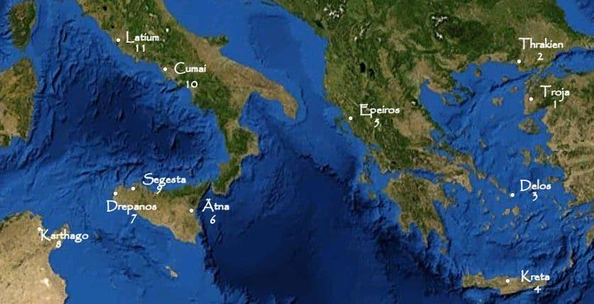 Die elf Stationen von Aeneas Irrfahrt