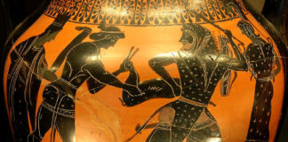 Griechische Göttinnen und Götter in der Mythologie: Artemis und Apollo wollen Herakles die Kerynitische Hirschkuh wegnehmen.