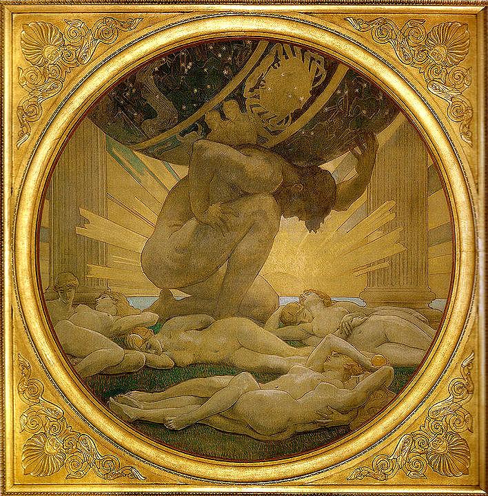 Atlas, ein von Zeus gestrafter Titan muss am Ende der Welt im Westen, beim Garten der Hesperiden, das Hímmelsgewölbe auf seinen Schultern tragen.