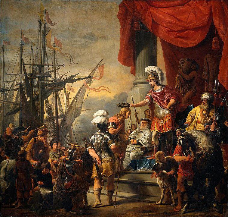 Aeneas-Sage. Der Held wird vom König Latinus empfangen.