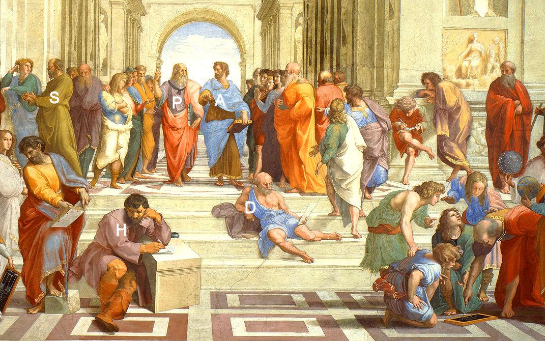 Die Schule von Athen Sokrates Platon Aristoteles Heraklit Diogenes