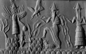 Enki und Inanna - hier mit Uto, dem sumerischen Sonnengott