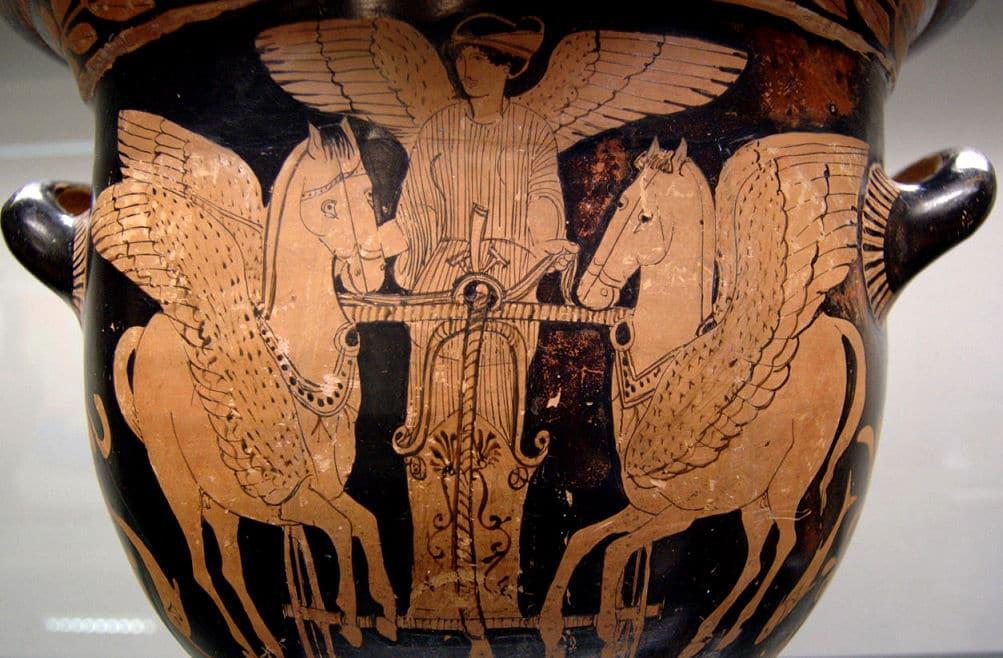 Eos, die griechische Göttin der Morgenröte, auf ihrem geflügelten Wagen.