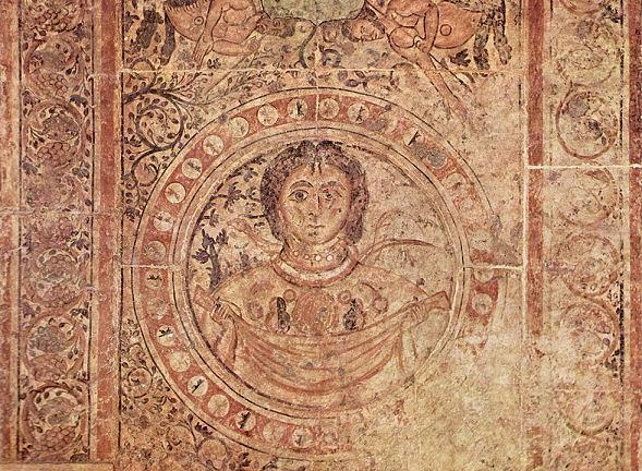 Gaia, die große Mutter Erde, Mosaik eines arabischen Malers