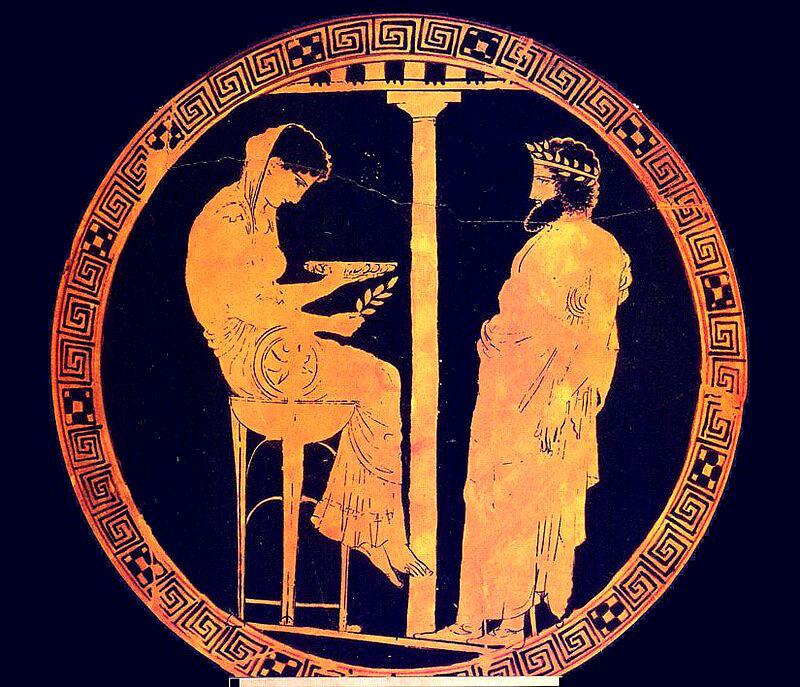 Die Götter Griechenlands - das Orakel von Delphi mit der Göttin Themis als Pythia