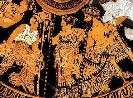 Hera, Zeus und Athene, rotfigurige Keramik