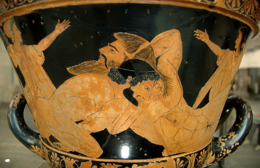 Herakles tötet den Riesen Antaios
