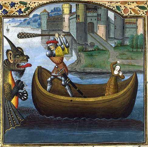 Herakles rettet Hesione vor dem Seeungeheuer, das Poseidon geschickt hatte.