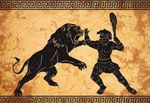 Herakles Heldentaten: Die 12 Taten des Herakles - diese hier, den Nemeischen Löwen zu besiegen, ist die erste.