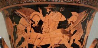 Hypnos, Thanathos und Hermes tragen den toten Sarpedon, Sohn von Zeus, aus der Schlacht bei Troja.