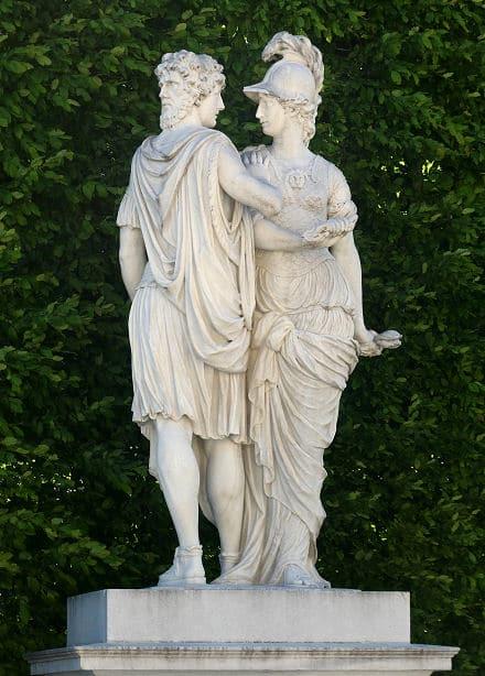 Der weise Janus beschwichtigt die Göttin Bellona, Schwester, Gemahlin, Freundin oder Wagenlenkerin des Kriegsgottes Mars.