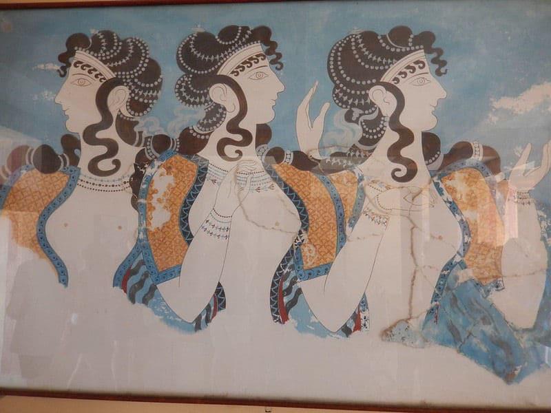 Fresko in Knossos - vermutlich Priesterinnen