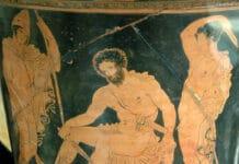 Odysseus (Mitte) spricht mit Teiresias (nahe des linken Fußes von Odysseus)