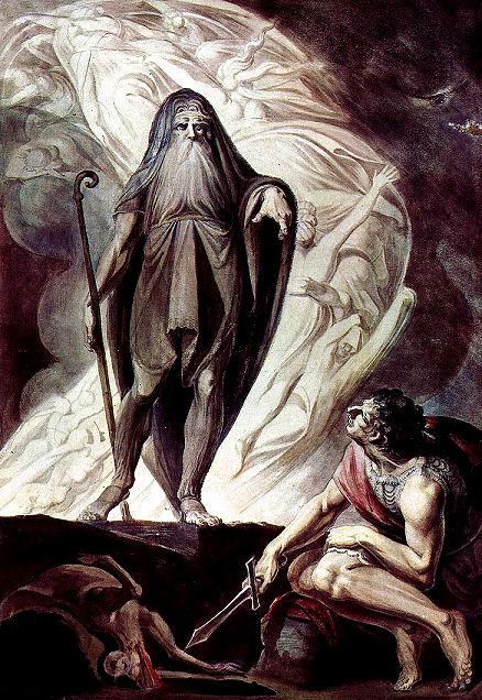 Teiresias erscheint, nachdem Odysseus ihn intensiv in einem Ritual rief.