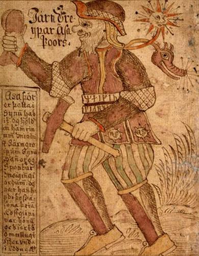 Thor mit seinem magischen Hammer Mjölnir