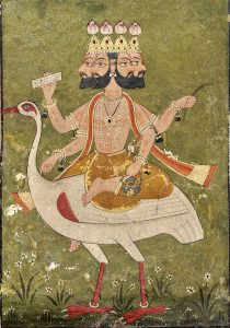 der indische Gott Brahma auf seinem Reittier, der Gans