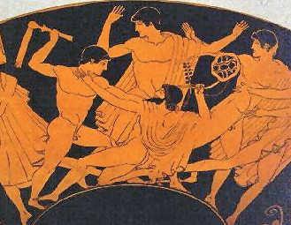 Herakles Taten Der junge Herakles toetet seinen Lehrer Linos