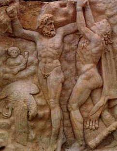 Auf der Suche nach dem Garten der Hesperiden befreit Herakles den Titanen Prometheus