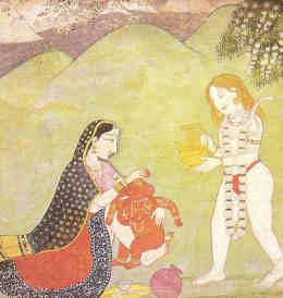 Indische Götter: Shiva und Parvati mit ihrem Sohn Ganesha