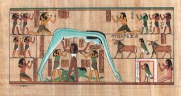 Die ägyptische Göttin des Himmels mit Geb und Schu