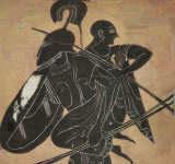 Aeneas flieht in der Troja Sage aus der brennenden Stadt
