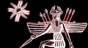 Inanna mit Löwe und Acht-Stern