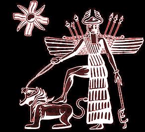 Götternamen - Inanna mit Löwe und Acht-Stern