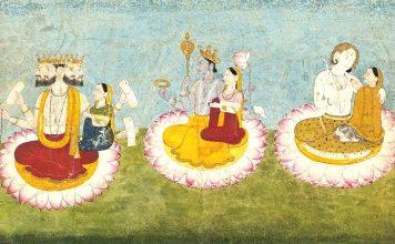Indische Götter: Trimurti: Brahma, Vishnu und Shiva mit ihren göttlichen Gemahlinnen.