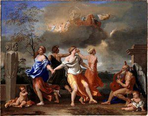 Römische Götter - Tanz des Lebens mit Büste des römischen Gottes Janus
