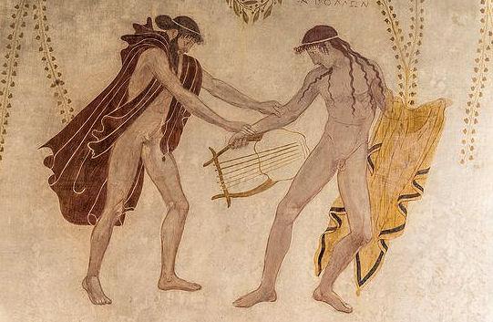 Apollon ist ein untypischer Sonnengott - hier mit seinem Halbbruder Hermes