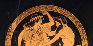 Dionysos Nymphe Satyr Thyrsosstab
