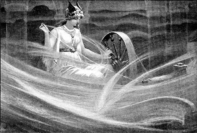 Die Göttin Frigg webt Tag für Tag die Schicksalsfäden der Menschen.