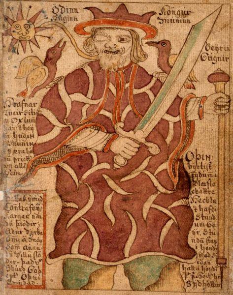 Der einäugige Odin mit Rabe