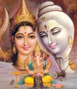 Indische Götter: Shiva, Parvati und der Elefantengott Ganesha