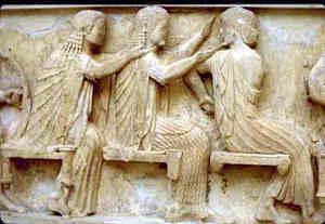 Der Gott Apollon mit Aphrodite und Athene