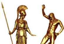 Griechische Göttin Athene mit Satyr