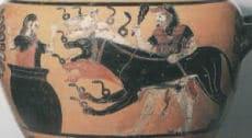 Griechischer Gott der Unterwelt Hades mit Kerebos, dem Höllenhund