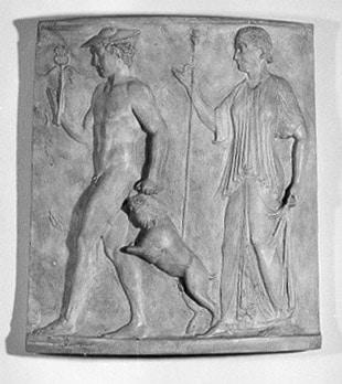 Die Göttin des Herdfeuers mit Stab vor ihr: Hermes mit Ziegenbock