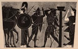 Athene, Hermes, Herakles, Kerebos und Persephone