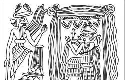 Enki im Abzu empfängt Ninurta