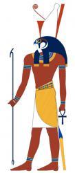 Horus mit Was-Zepter, Ankh und Doppelkrone