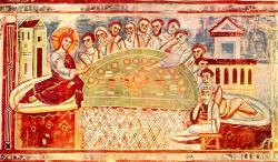 Eucharistie - Fresko in Sant' Angelo in Formis bei Capua, um 1100