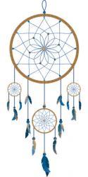 Was ist ein Traumfänger? Kreis mit spinnenartigem Netz, Federn, Perlen und anderen Symbolen