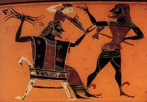 Göttervater Zeus gebiert seine Tochter Athene