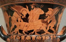 Hypnos, Thanathos und Hermes tragen einen toten Sohn von Zeus aus der Schlacht bei Troja
